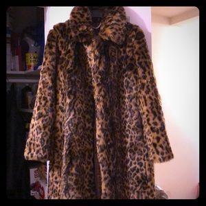 J.Crew Faux Fur Leopard Coat -Sz M
